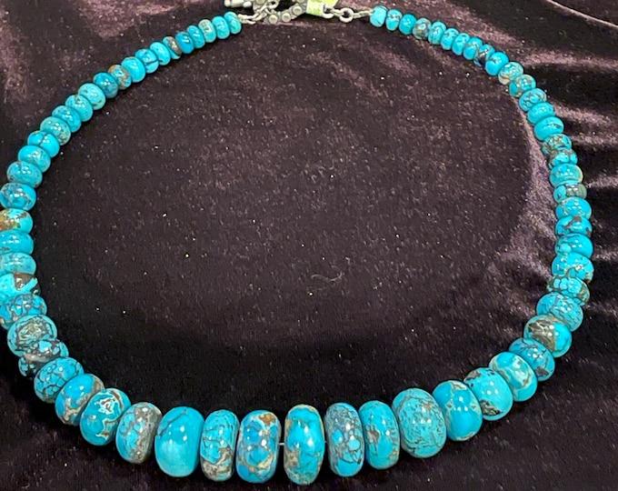 Turquoise Roundel Necklace Graduated Beads