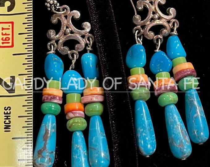 Turquoise Spiny Oyster Earrings Dangles of Sleeping Beauty Teardrops