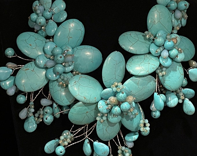 Gaudy Turquoise Magnesite, Flowered, Wired, Necklace