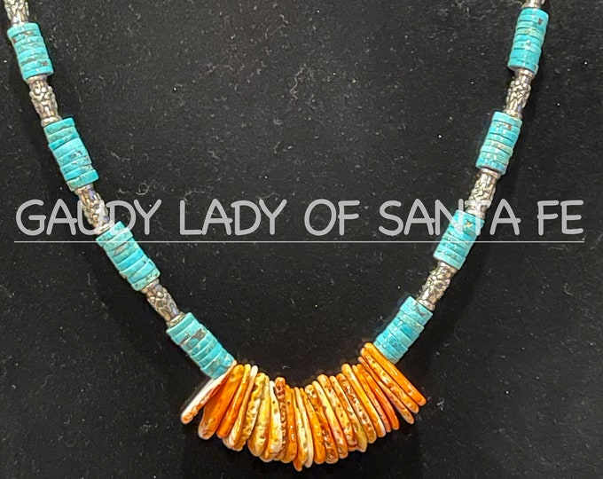 Turquoise Spiny Oyster Teardrops Silver Trim Necklace