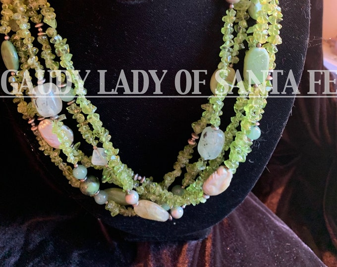 Peridot Five Strand with Pearl and Prehnite Accents