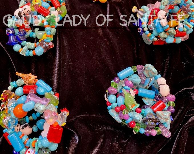 Slinky YoYo Bracelet Multi-Colored Stones and Glass