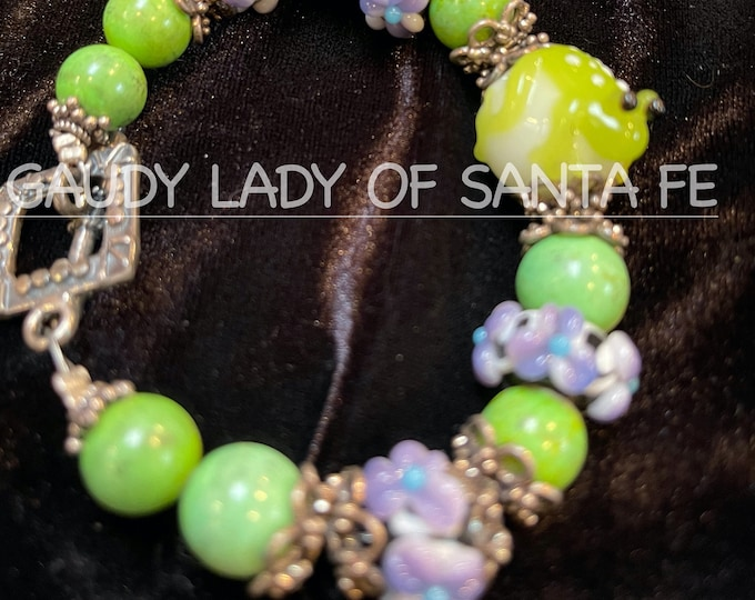Green Turquoise Frog Bracelet &  Morano Glass Beads
