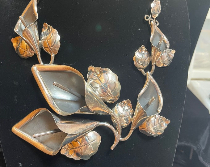 Sterling Leaves Flowers Statement Necklace