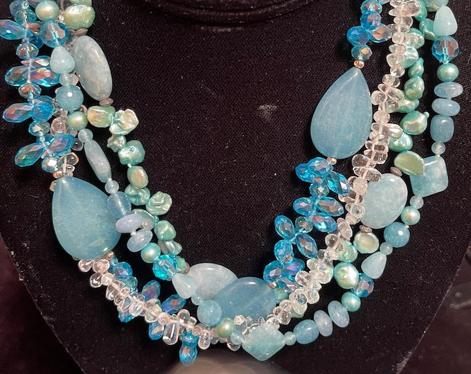 Blue Chrystal Pearl 4 Strand Mixed Bead Necklace
