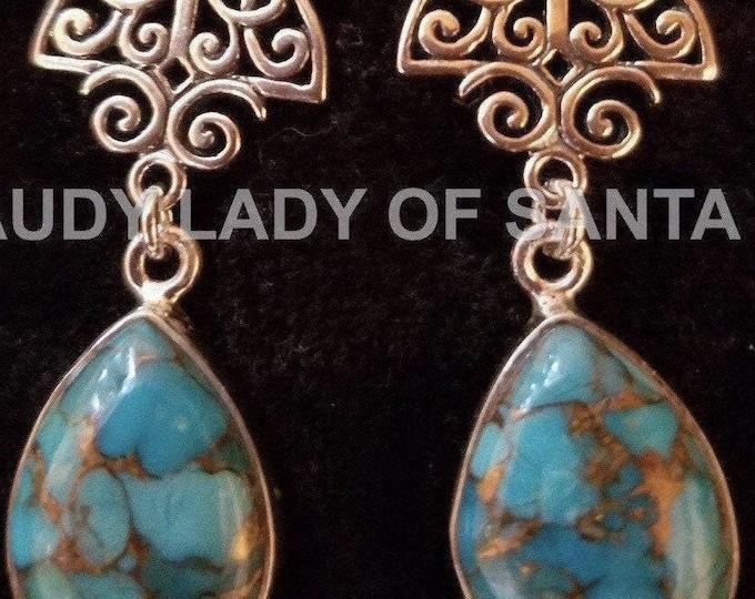 Turquoise Teardrop Earrings of Sterling Silver Filigree, Pear Shaped, Dangle