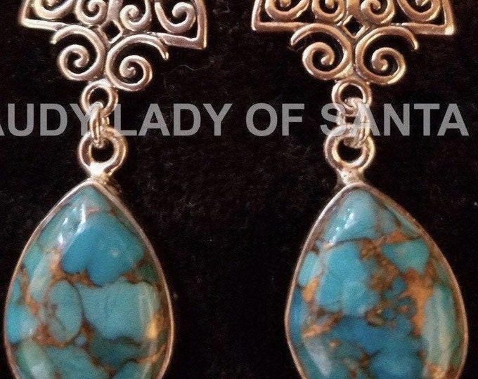 Turquoise Teardrop Earrings of Sterling Silver Filigree, Pear Shaped, Dangle