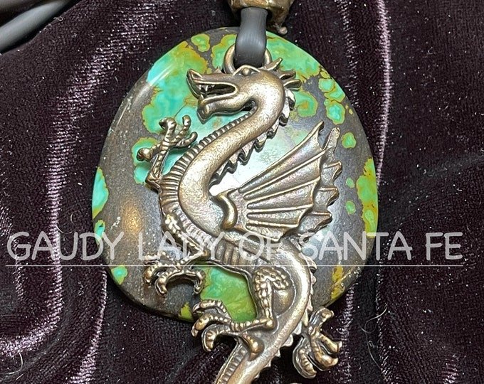 Green Turquoise Dragon Dolphin Necklace