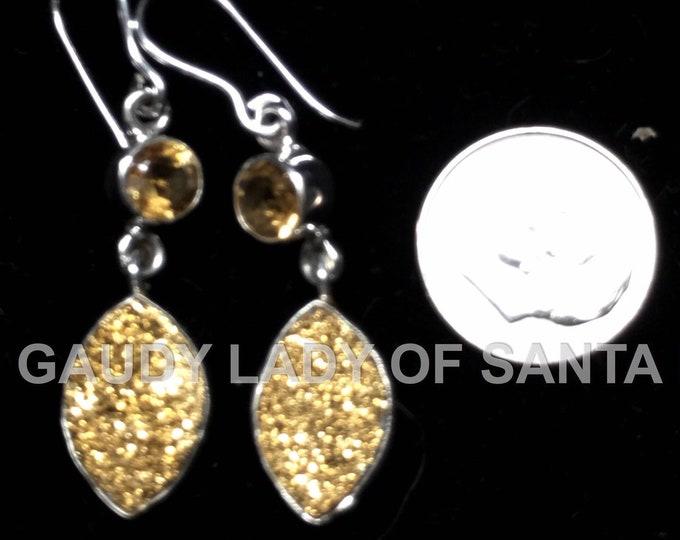 Druze Earrings Yellow Quartz Dangle