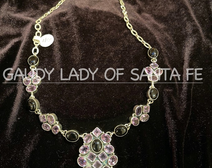 Amethyst Onyx Necklace in Sterling Silver