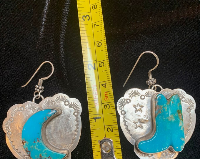 Turquoise Boot Moon Earrings (Kicking the Moon)