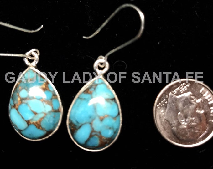 Turquoise Earrings Copper Matrix Pear Shape Dangle