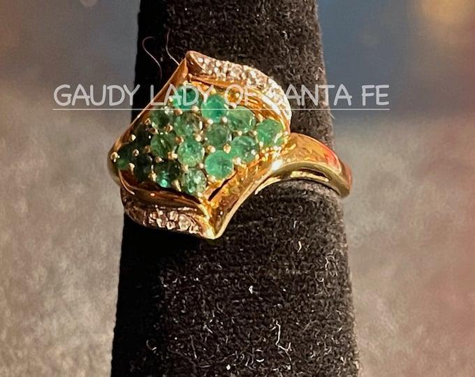 Vintage Emerald Diamond 14K Yellow Gold ring