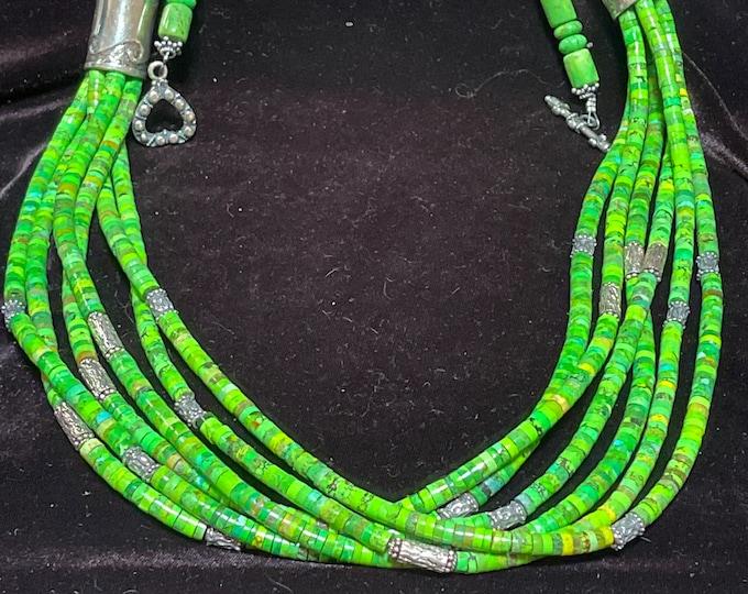Mojave Green 6 Strand Necklace Silver Barrels