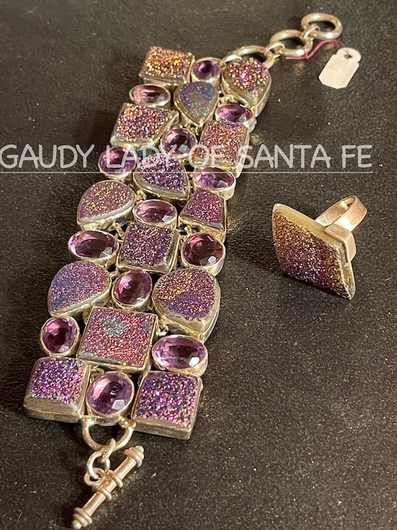 Vintage Amethyst Druzy Bracelet and Ring