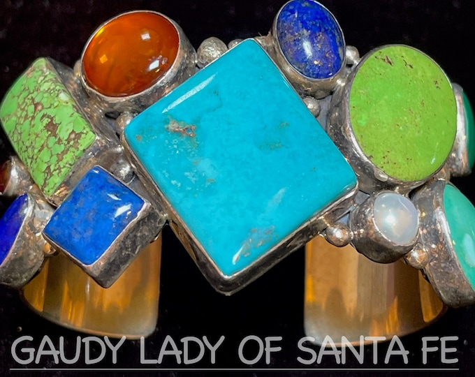 Vintage Multi-Stone Cuff Bracelet, Turquoise, Lapis, Amber, Mother of Pearl