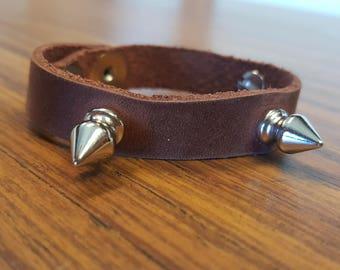 Light Brown Leather Spike Bracelet