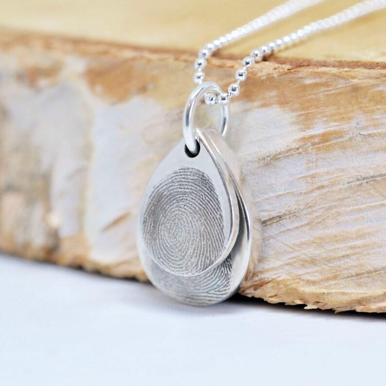 Double Fingerprint Teardrop Necklace