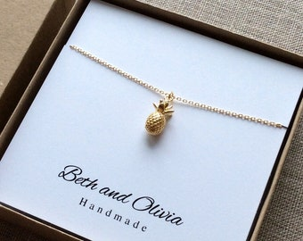 Gold Pineapple Necklace, pineapple necklace, pineapple charm, fruit jewelry, tarnish resistant jewelry, tropical jewelry, free shipping