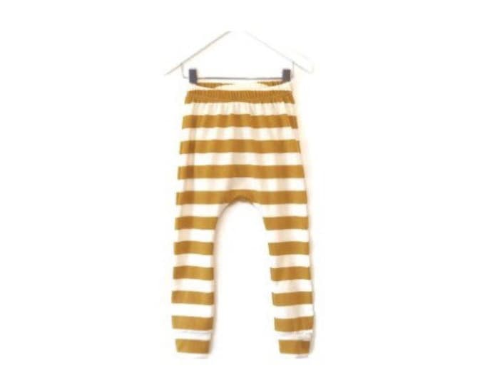 Ochre striped harem pants, baby harem pants, harem pants child