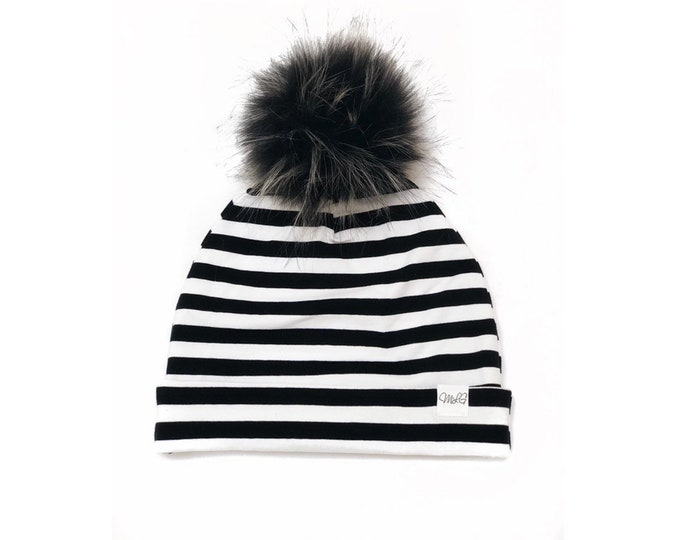 Black Stripes pom-pom cap - White