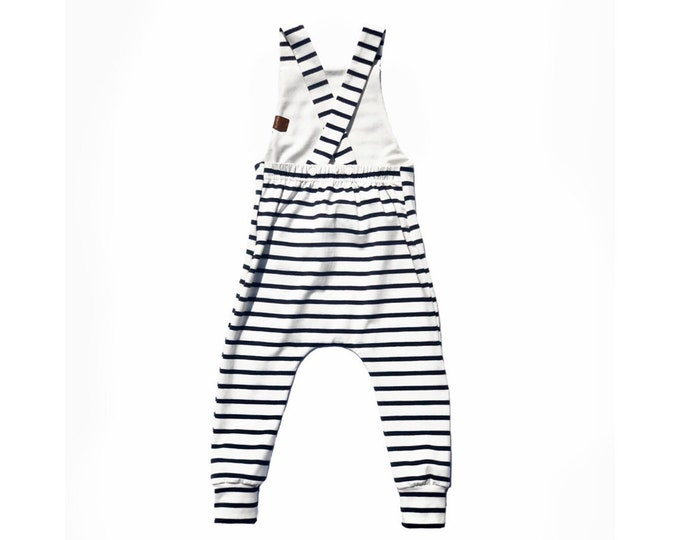 Sailor long bib overalls-Navy striped overalls-child overalls-baby jumpsuit