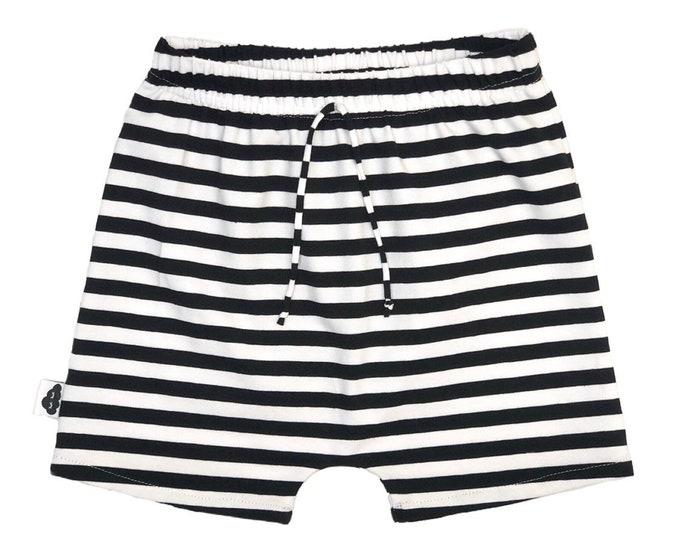 Black and white striped short harem pants