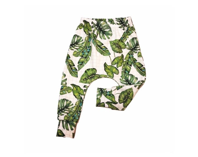 Harem pants foliage, baby harem pants, harem pants child