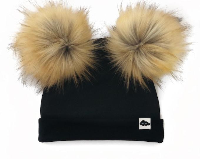Bonnet Double Pompon Noir