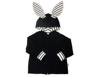 Navy rabbit Zip Sweatshirt