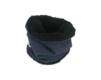 Snood Maille bleu jean Polaire noire