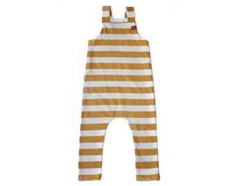 Ochre striped overalls, child overalls, baby overalls, striped overalls