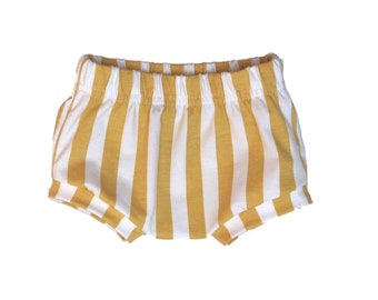 Bloomer vertical stripes mustard-Bloomer in organic cotton-boys shorts-baby Bloomer