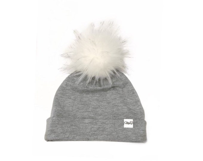 Light Grey Pom Cap