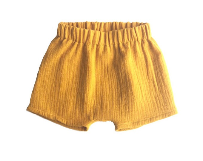 Double gauze cotton shorts mustard-short harem pants-short harem pants-short harem pants-short harem pants baby er child