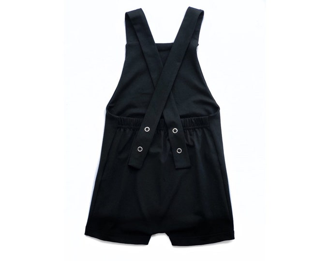 Black short overalls, black child overalls, baby overalls, backless overalls