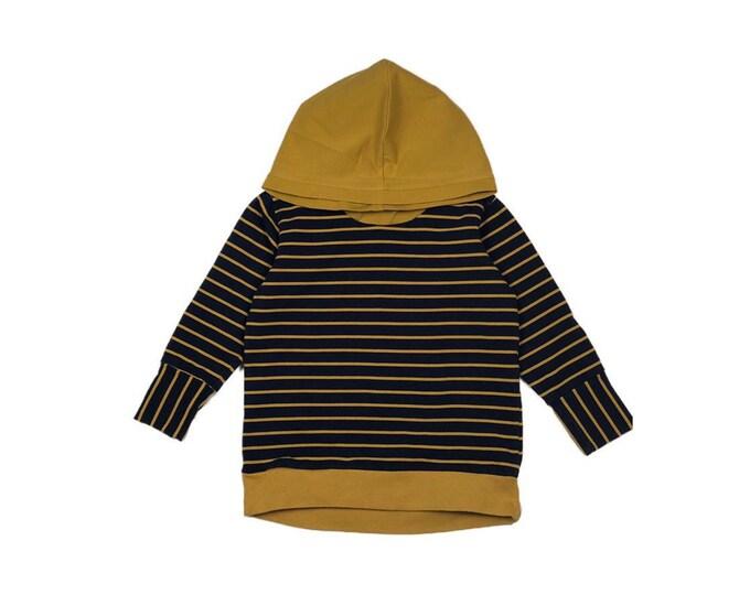 Ochre-Navy stripe Hoodie