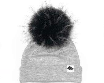 Light Grey Pom Cap