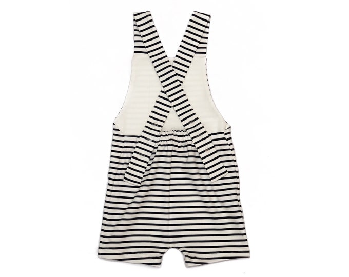 Sailor short overalls, baby overalls, striped child overalls