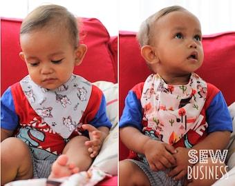 Bandana Bib PDF Sewing Pattern - Baby/Infant & Toddler Sizes - Flat or Cowl Neck/Slouch/Draped Design - Instant Download - Dribble/Drool Bib