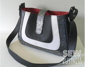 Handbag PDF Sewing Pattern - Momo Mod Bag - Instant Download - Medium Size Purse, Adjustable Strap, Internal Pockets & Zipper, Tab Closure