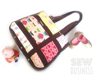 Handbag PDF Sewing Pattern - Mumu Mod Tote - Large Market Tote or Diaper/Nappy Bag, Internal Pockets, Outside Zip Pocket, Zip Closure