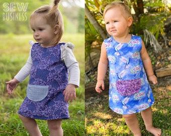 Baby/Infant/Girls A-Line Dress PDF Sewing Pattern - Size 0-3 Months to 3T - Joey Dress - Easy Beginner Simple - Snap Shoulder, Front Pocket