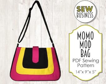 Handbag/Purse PDF Sewing Pattern - Momo Mod Bag - Instant Download - Medium Size, Adjustable Strap, Internal Pockets & Zipper, Tab Closure