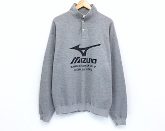 2f4d1810 Rare!!! Mizuno Sweatshirt Half Button Big Logo Mizuno Takushoku Univ Hight  School Spellout Made In Japan Sweater Sportwear