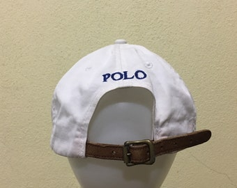 86e043ef0 Polo Leather Adjustable Rare!!! Vintage Polo by Ralph Lauren Cap Polo Hat  Cap Small Pony Spellout Embroidery White Cap Strap