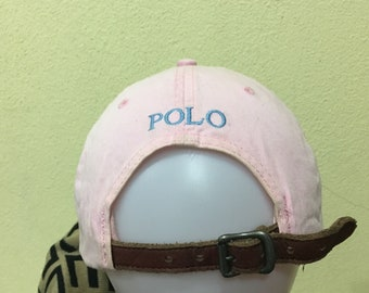 e66cbf7f849 Vintage Polo by Ralph Lauren Cap Polo Hat Cap Leather Adjustable Small Pony  Spellout Embroidery Soft Pink Strap