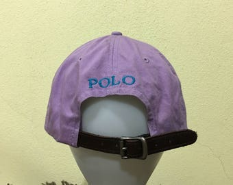 bc1fc697f70 Vintage Polo by Ralph Lauren Cap Polo Hat Cap Leather Adjustable Small Pony  Spellout Embroidery Strap