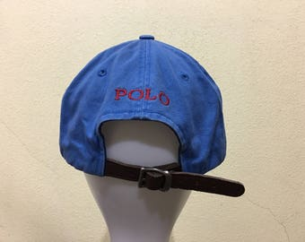 Rare!!! Vintage Polo by Ralph Lauren Cap Polo Hat Cap Leather Adjustable  Small Pony Spellout Embroidery Strap 1551e57ed715