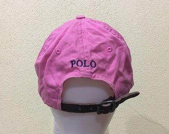 b14bdc112b422 Vintage Polo by Ralph Lauren Cap Polo Hat Cap Leather Adjustable Small Pony  Spellout Embroidery Pink Strap - Excellent!